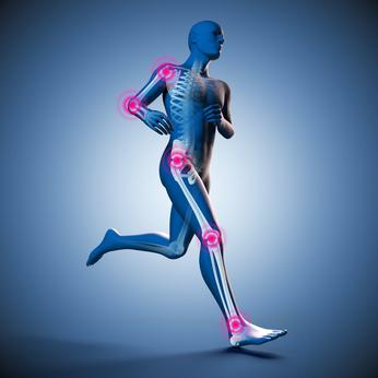 mit Skelett und Gelenkschmerzen
